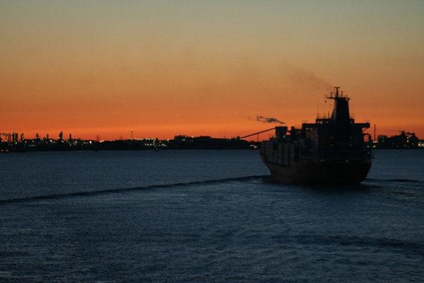Sonnenuntergang auf dem Weg nach Hamburg