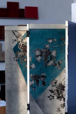 """Paravent """"Les vignes"""", laque et or blanc. Création ALM DECO ®Matthieu Cellard"""