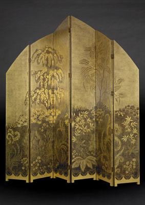 Paravent inspiration A.A. Rateau en laque et feuille d'or jaune.