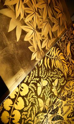 Détails de reproductions et d'inspirations autours de l'univers A.A. Rateau en laque et feuilles d'or ©Silvère Leprovost