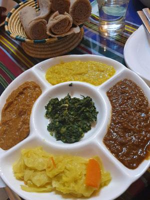 Äthiopische vegane Platte