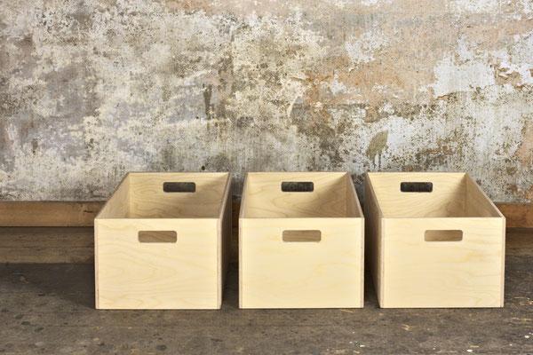 Kisten Birkensperrholz, Oberfläche unbehandelt, Kisten liegend