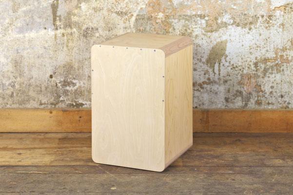 Cajon Birkensperrholz, Oberfläche geseift, Front-/ Seitenansicht