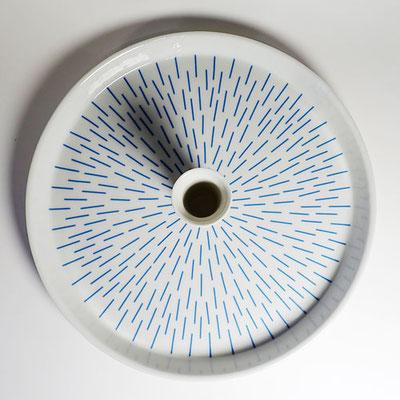 Tablett für eine Kerze_Dekor: Strahlen, blau_Aufsicht