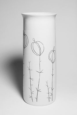 Porzellanvase, groß, Dekor Lampionblume