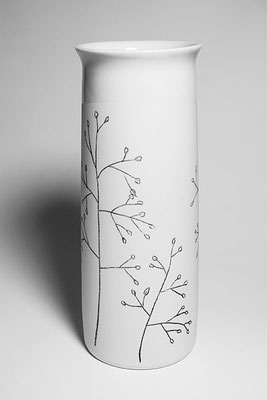 Porzellanvase, groß, Dekor Zittergras