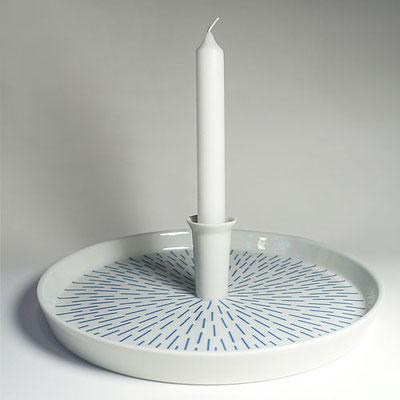 Tablett für eine Kerze_Dekor: Strahlen, blau_Seitenansicht
