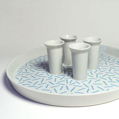 Tablett für vier Kerzen_Dekor: Wiese, hellblau_Seitenansicht