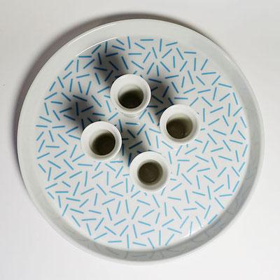 Tablett für vier Kerzen_Dekor: Wiese, hellblau_Aufsicht