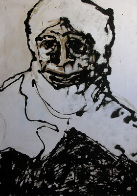 Woman, Acrylic and tar on canvas, 80 x 110 cm, 2000