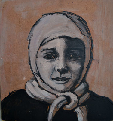 Haneen, 31 x 29 cm, Acrylic on wood, 2014