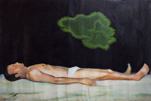 Self Portrait With Green Spot, Acrylic on canvas, 180 x 130 cm, 2008