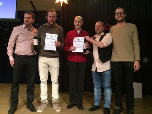 Treue Mitgliedschaft im Verein GTSV Frankfurt: Dennis Nagel (10-jährige Mitgliedschaft), Efstratos Selpessis (25-jährige Mitgliedschaft, nicht auf dem Bild) und Gerhard Heintges (60-jährige Mitgliedschaft)