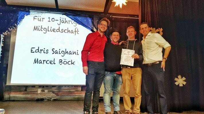 10-jährige Mitgliedschaft GTSV Frankfurt:  Marcel Böck und Edris Saighani (nicht auf dem Bild)
