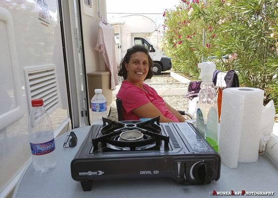 La nostra piazzola nell'area Camper di Margherita di Savoia (vicino a Barletta)