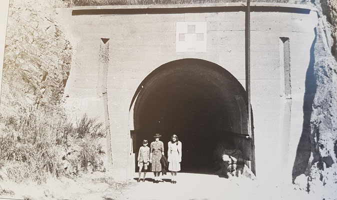 The entrance to Hauptverbandsplatz Ho8 in 1946. The family on the picture is the Higginbotham family