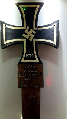 Grave marker of german soldier Franz Schifferle who died in Jersey possibly of wounds sustained in St. Malo