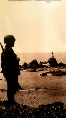 German guard on watch at Corbiere Strongpoint