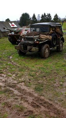 Jepp in the field outside the Bastogne War Mueum re-enactor camp