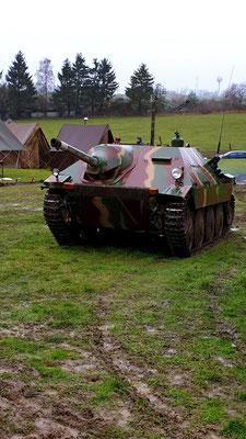 German Hetzer tank the field outside the Bastogne War Mueum re-enactor camp