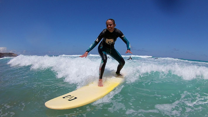 surfing the green wave in turquoise water la pared