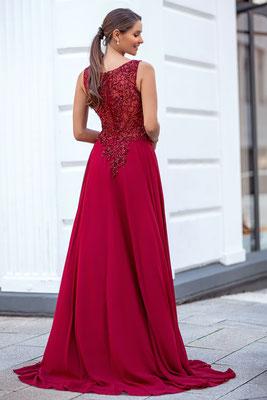 Langes Abendkleid aus Chiffon in rot mit Pailletten