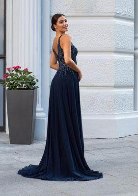 Abendkleid aus Chiffon mit Pailletten und V-Ausschnitt in Marineblau
