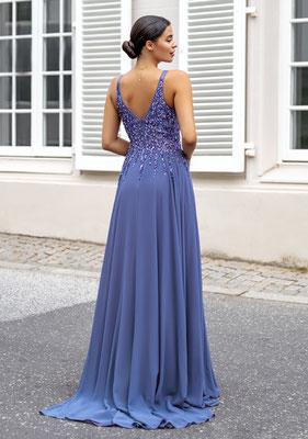 Abendkleid aus Chiffon mit Pailletten in Kornblumenblau