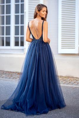 Abendkleid aus Tüll in dunkelblau mit V-Ausschnitt, Pailletten, und tiefem Rückendekoltee