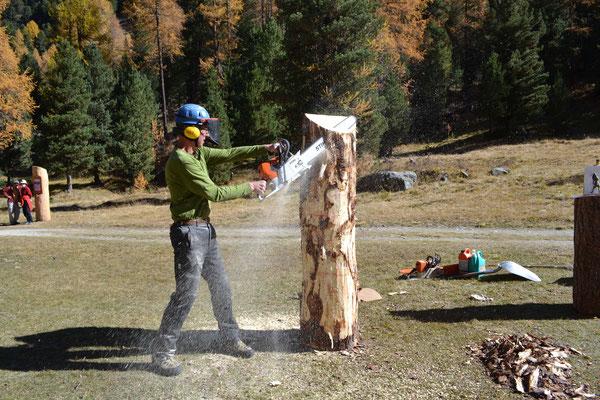 Holzskulptur mit Motorsäge
