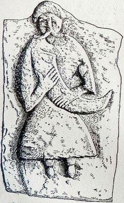 Zeichnung des Reliefs. Quelle s. unten.