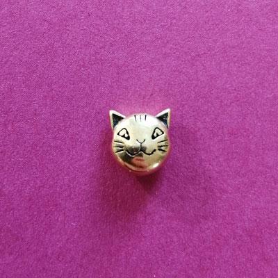 Katzenkopf, nickelfreie Legierung, goldfärbig, 7 mm