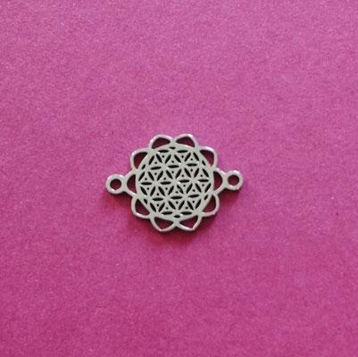 Blume des Lebens, Edelstahl, 13 mm