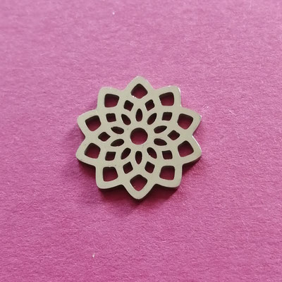 Blume, silberfärbig, Edelstahl, 15 mm