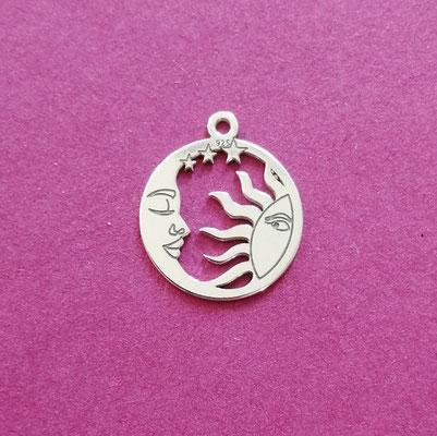 Sonne und Mond, Sterling Silber, 14 mm