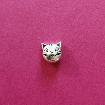 Katzenkopf, nickelfreie Legierung, silberfärbig, 7 mm