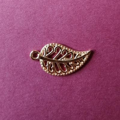 Blatt, rosé goldfärbig, 2cm lang
