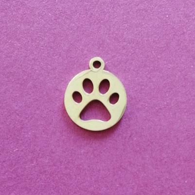 Pfotenmarke, Edelstahl, goldfärbig, 13 mm