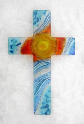 Glas Kreuz Wandkreuz Licht und Wasser