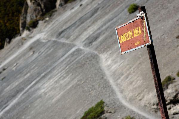 Erdrutschgebiet bei Shree Kharka