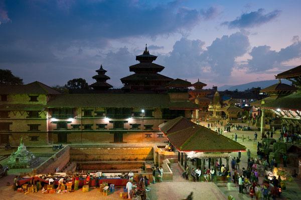 Durbar Square von Patan im Abendlicht