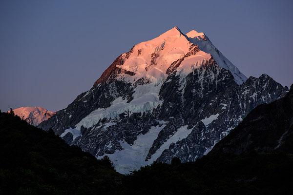 Mount Cook im letzten Tageslicht