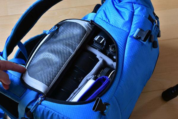Seitentasche 1 mit D3200, 70-200, 50mm, Filter und Reinigungsmaterial