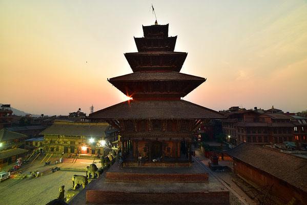 Nyatapola Tempel im Abendlicht
