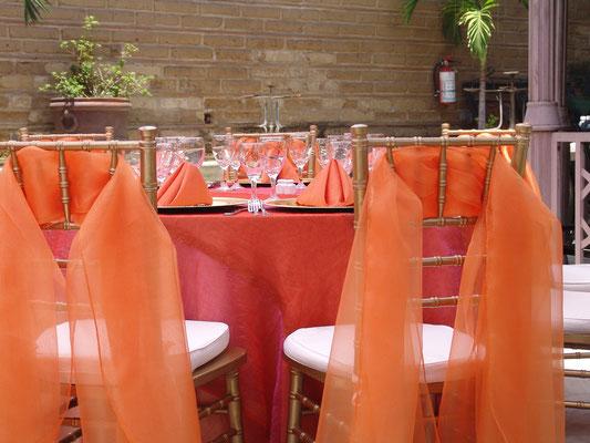 respaldo silla tiffany color naranja y oro