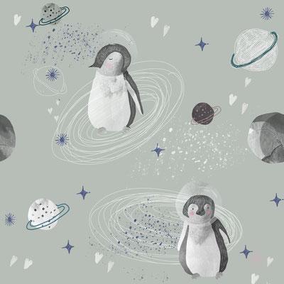 Weltall Pinguine Grau