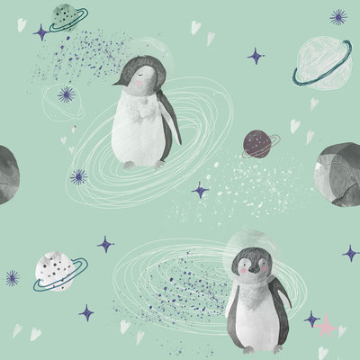 Weltall Pinguine Mint