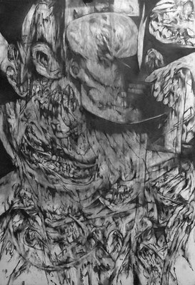 Repli/fusain sur papier/100x70cm/2016