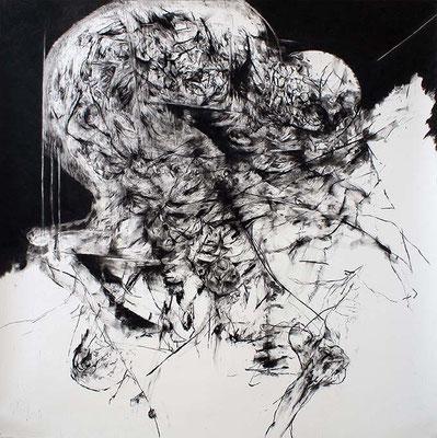 Artifice / fusain sur papier / 150x150cm / 2017