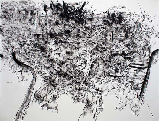 Saxifrage II / fusain sur papier / 150x200cm / 2017
